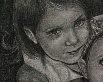 Custom pencil portrait drawing from your photo. Your memories come to life again in Nica's exquisitely detailed portraits. 25% off Sale!