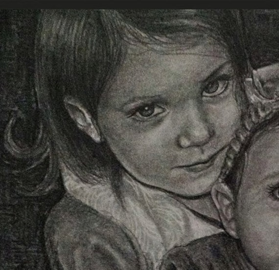 Custom pencil portrait drawing from your photo.  Drawn by an Award-Winning Artist! Free shipping.