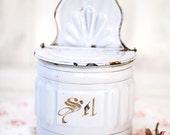 1940s French Large Enamel Salt Box - Shabby Chic White - Free Shipping Within the USA