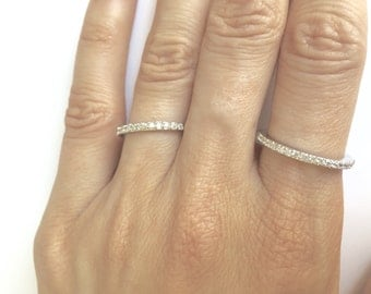 Sterling Silver, Eternity Ring, Full Eternity Band, Engagement Ring, Wedding Band, Thin CZ ring band, Micro pave, Stackable Ring