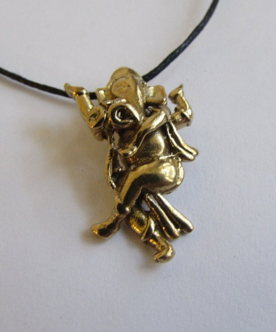 Ganesh brass pendant On Wax Cord Yoga Jewellery Om Ohm Aum  Adjustable Unisex Free UK Shipping + Gift Bag CH3