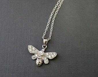 Bee Necklace - Bee charm necklace - tiny silver bee charm - bumblebee jewelry - honeybee necklace - beekeeper - honey farmer - entomologist