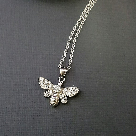 Bee Necklace Bee charm necklace tiny silver bee charm