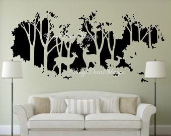 Deer In Woods Wall Decal, Large Wall Decal, Deer Wall Mural, Wall Mural Part 90