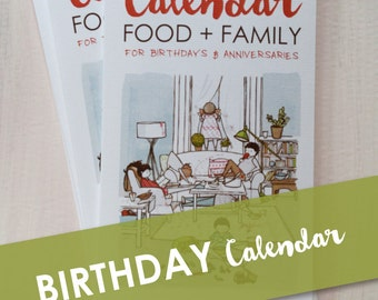 Perpetual,Birthday, Anniversary Calendar | 12 Illustrated Months | Food, Family & Kitchen Themed