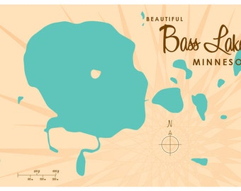 Bass Lake, MN Map Print