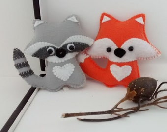 Fox and Raccoon Felt Ornaments / Christmas Ornaments/ Set of 2 Ornaments / Handmade Ornaments