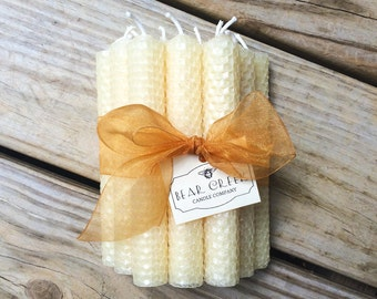 "One Dozen 6"" Tall Hand Rolled Pure Beeswax Honeycomb Taper Candles"