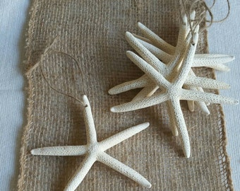 Starfish Ornaments, Beach Christmas Ornaments, SET of 6, 4-5IN Starfish Christmas Ornaments, Beach Wedding Favor