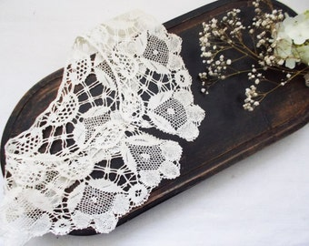 1900s Bobbin Lace Collar Antique Victorian French Hand Made