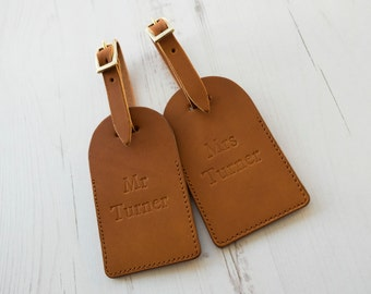 Leather Luggage Tags - Mr & Mrs Custom Last Name monogram - Tan