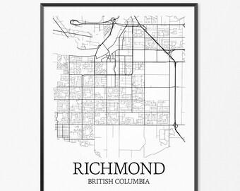 Richmond Map Art Print, Richmond Poster Map of Richmond Decor, Richmond City Map Art, Richmond Gift, Richmond British Columbia Art Poster