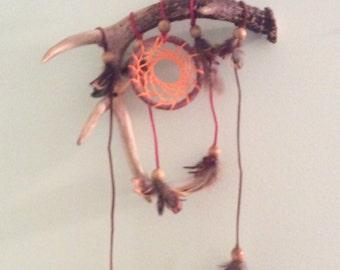 Real deer antler dream catcher. Deer antler. Deer antler wall hanging.