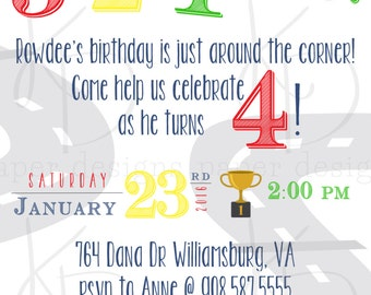 Race Car Birthday Invitation - Digital Download
