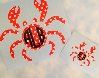 Crab  Monogram Decal, Lilly Inspired Print, Car Decal, Summer Decal, Beach Decal