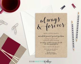 "Rustic ""Always & Forever"" Wedding Invitation Suite // 5x7 // Choose Your Set! // The Meredith Collection"