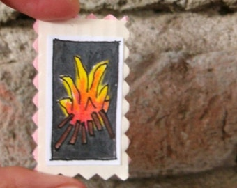 Tiny art.Small draw.Mixed media.Colored pencils art.Flame.Cardboard art.Hand colored.Doll house.Miniature.Craft supply.Gift.Autumn.