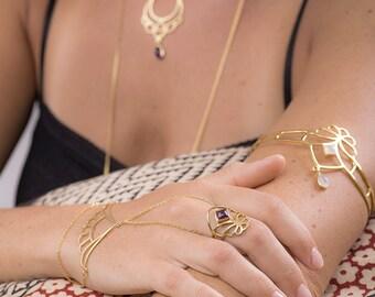 Armlet, Gold Armlet With Gemstone, Upper Arm Cuff, Armlet Bracelet, Boho Bridal Jewelry, Armband, Festival Jewelry