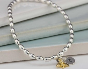 Silver or Gold Bee Charm Silver Oval Bead Friendship Bracelet Personalised with a Solid Silver Stamped Initial Charm