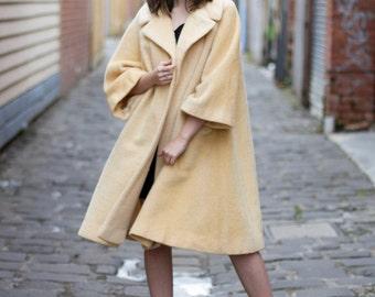 Vintage 1950s Paris LILLI ANN Coat / 1950s/60s Swing Coat / Buttercup Coat / Silk Lining / M/L