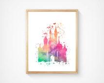 SALE! Disney's Castle Download Instant Print,  Magic Kingdom Hand Made Digital Item,  8 x 10 Printable Wall Art. Child Bedroom / Nursery