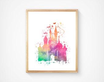 Disney Castle Print, Disney Princess, Instant Download Print, Disney Hand Made Digital Item, Watercolor Art, Nursery Wall Decor, Disney Gift
