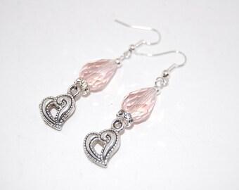 Heart,Pink Fashion Crystal Earrings, Beaded Earrings,Drop Earrings ,Dangle Earings ,Boho Jewelry ,Gift For Her