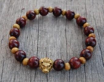 Lion Bracelet,Bronze Lion Head Bracelet,Mens Lion Bracelet,10mm Wood Beads,Lion head,Gift for Him,Bracelet for Men,Leo Lion Bracelet,Man