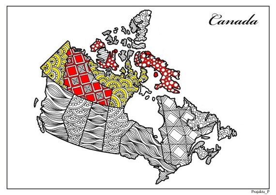 Adult coloring page Zentangle Canada colouring travel map of
