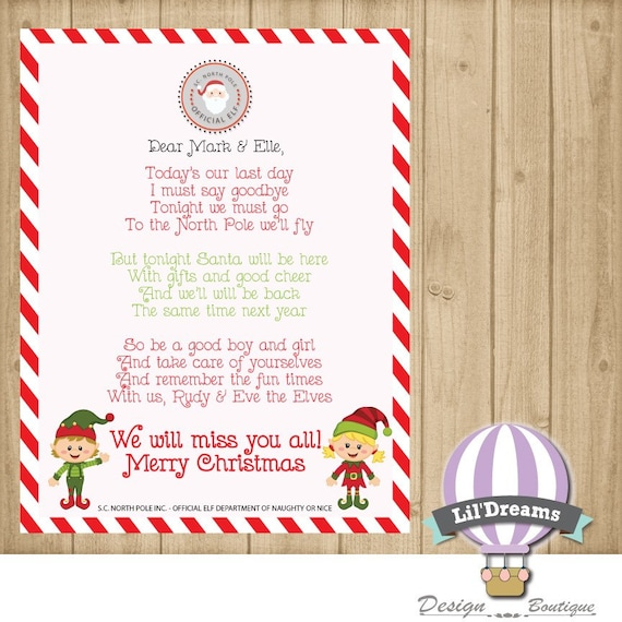 Personalized Elf Goodbye Letter