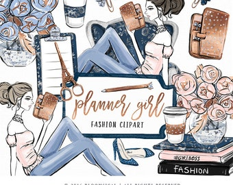 Planner Girl Clip Art | Fashion Illustration Glam chair books coffee Graphics | Planner Stickers, Planner Girl | Digital Cliparts