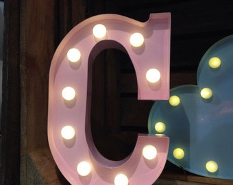 Vintage Carnival Style Marquee Light, Light up Letter C - Battery Operated