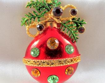 Vintage Ornament Tree Bulb Christmas Brooch