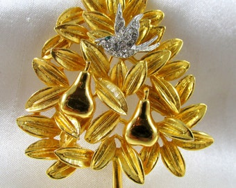 Vintage Cadoro Partridge in a Pear Tree Christmas Brooch