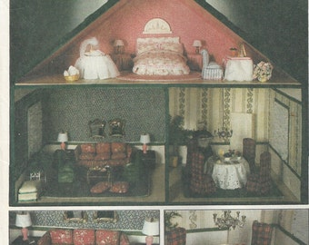 1970s Retro Doll House Pattern Furniture Instructions Craft Package Cardboard Foamcore Vintage Dollhouse