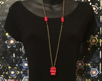 Red Coral Long Necklace on Gold Chain