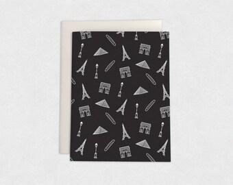 Pattern for Paris - notecard/black - proceeds benefit #prayforparis