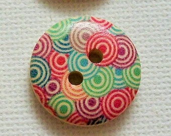 """6 Wood Buttons, 3/4"""" Wooden Buttons 18mm, Wholesale Sewing & Knitting Buttons, Scrapbooking Supply, Sewing Notions, Large Wood Button"""