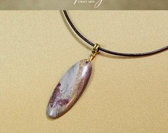 Grass Flower Jasper pendant necklace, Grass Flower Stone pendant, Scenic Stone pendant necklace, Genuine leather necklace, InfinityCraftArts