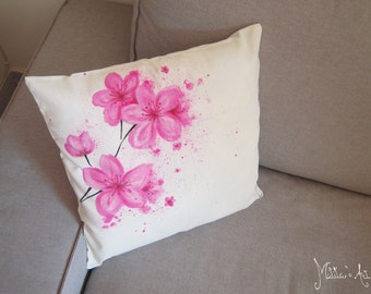 Flowers hand painted pillows series / Cherry Blossom throw pillow / Sakura Pillow cover