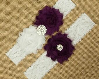 Deep Purple Wedding Garter Set, Bridal Garter Set, Purple Garters, White Lace Garter, Toss Garter Keepsake Garter, Purple Wedding, SCW1-P05