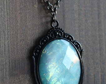 Aqua Opal Faceted Cameo Necklace, Black , Romantic Victorian Style Jewelry, Romantic Gift for Her