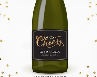 Cheers Champagne Label, Wedding Wine Label, Bridal Shower Champagne, Bachelorette Bubbly, Engagement Decor, Personalized Engagement Gift