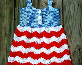Red White and Blue Jean Dress Crochet Pattern *PDF FILE ONLY* Instant Download