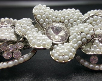New CZ Crystal & Pearl Floral  Silver Metal 3 '' Hair Barrette Lever Back