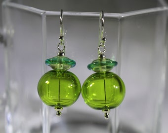 Lampwork hollow beads in shades of green
