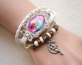 Colorful Galaxy Bracelet,Galaxy jewelry,Cresent moon bracelet,Fairy tale charm bracelet,braided leather bracelet,handmade glass dome (SL011)