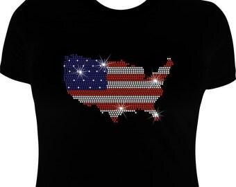 American Flag shirt-rhinestone-flag shirt-flag iron on transfer