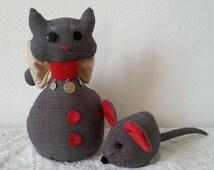 Cat door stop, cat door stopper, cat figures, cat home decor, handmade cat fabric, cat lover gift, cute mouse, cat statue