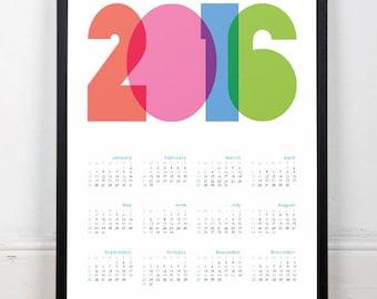 2016 calendar print, 2016 calendar, Calendar poster, Typography poster, Typography art print, Wall print, Wall art, Office art